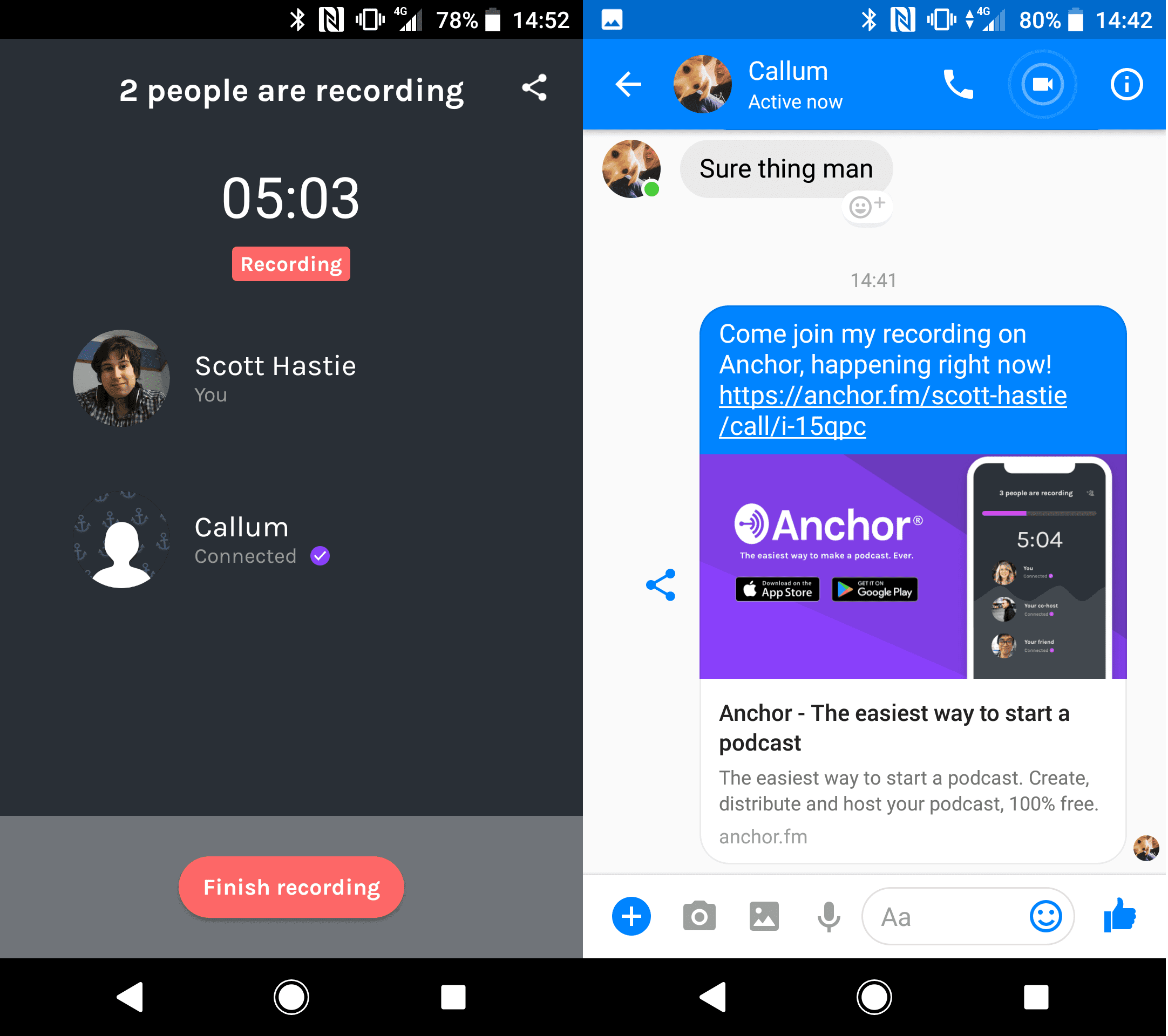 A screenshot of Anchor's recording with friends functionality