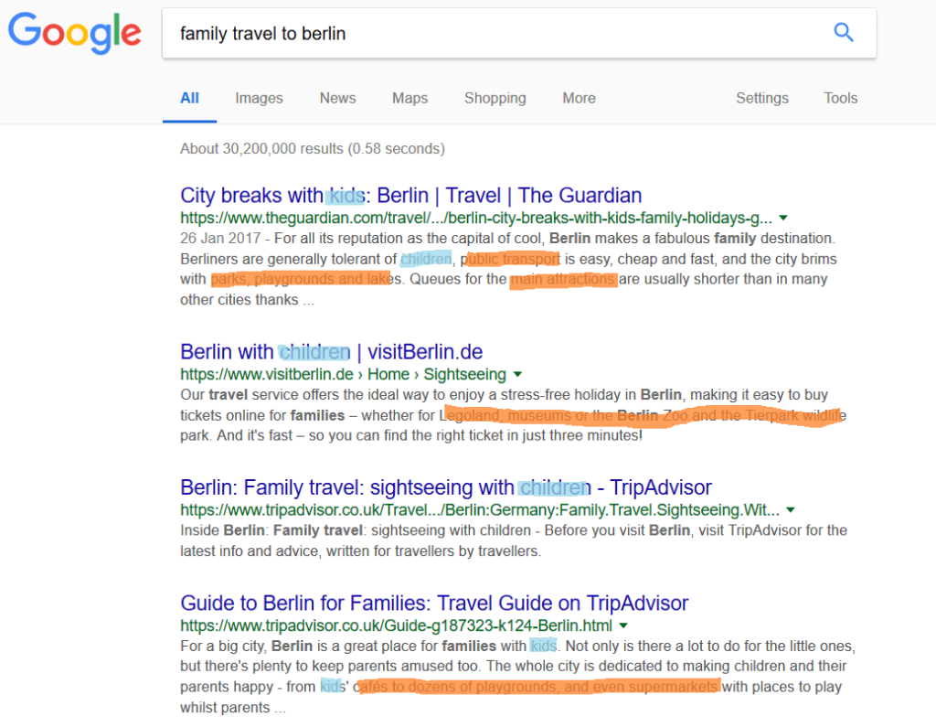 A google search result which helps us find good keywords for SEO purposes