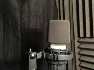 Acoustic Blanket in booth with microphone