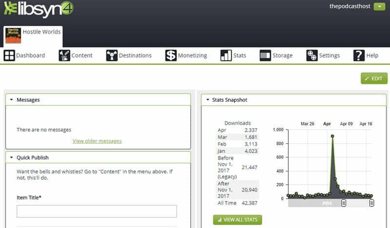 buzzsprout vs libsyn: the libsyn hosting interface
