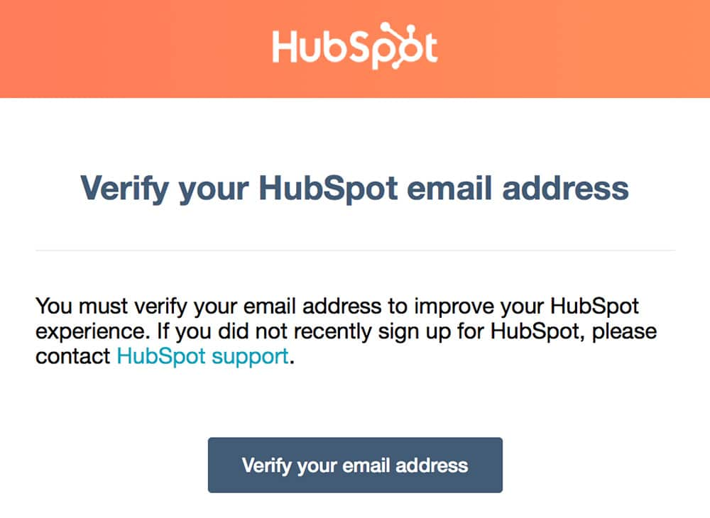 Verify your email when you register on HubSpot