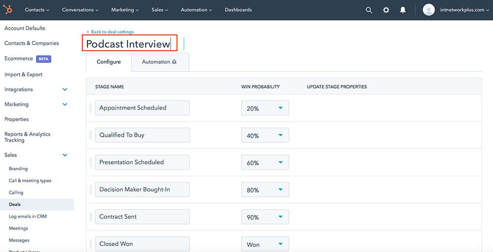 Creating the process of managing podcast guests in the HubSpot system