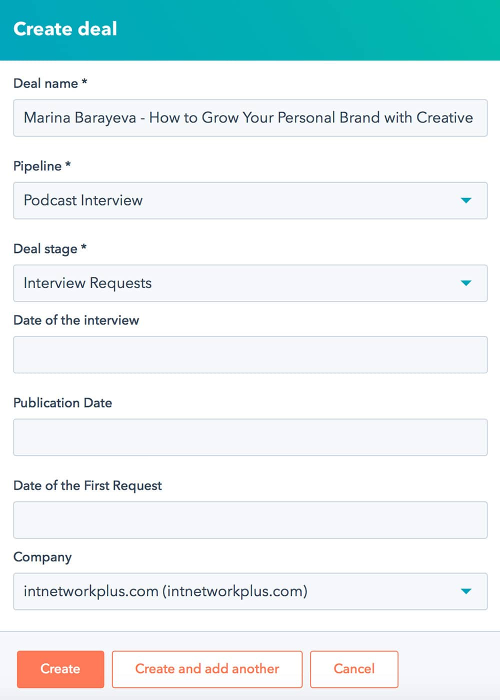 How to add a new podcast interview deal to a podcast guest