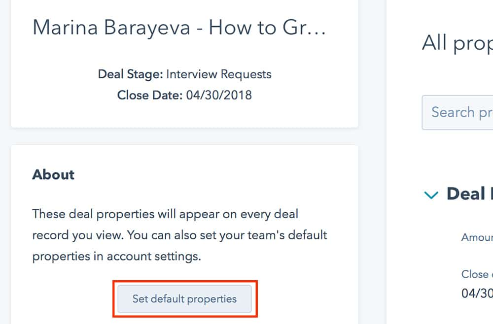 How to customize a Deal page