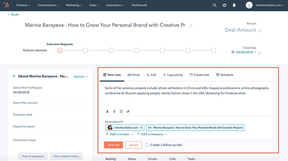 How to work with a Deal page for the podcast interview process