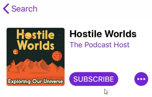 Podcast names Hostile Worlds in iTunes