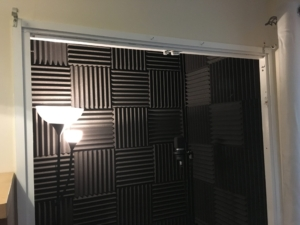vocal booth before acoustic blanket