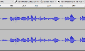 Audacity recording USB mics onto both tracks