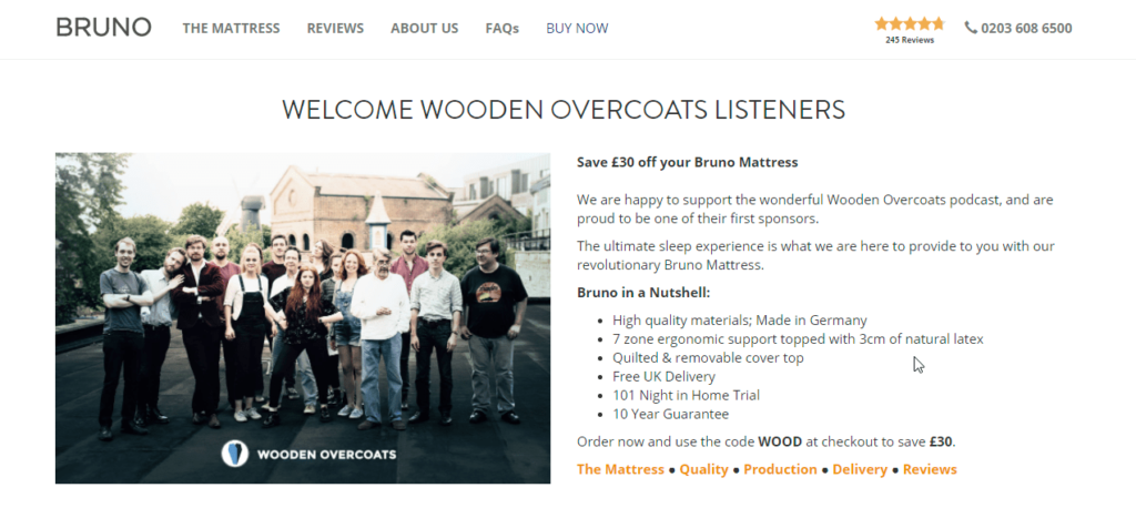 Wooden Overcoats Podcast Sponsor