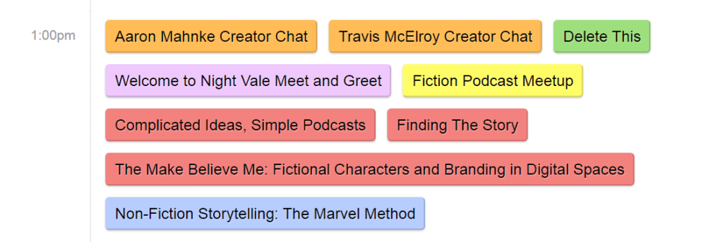 screenshot of a schedule with various differently colored events podcon