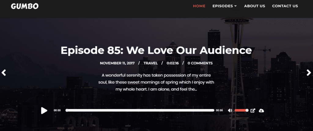 gumbo theme podcast player