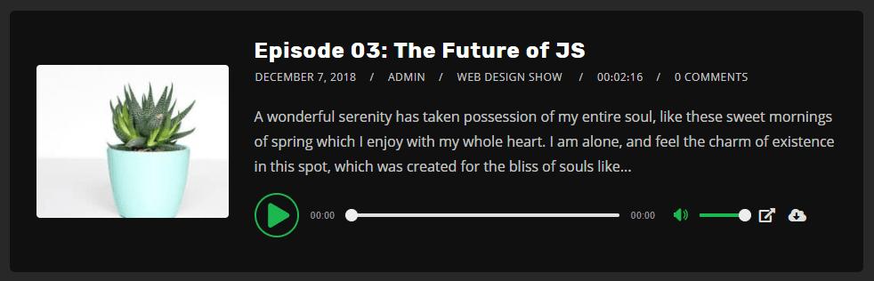 wordpress theme podcast player