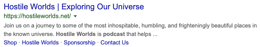 This is a screenshot of Google Search results for the Hostile Worlds podcast.