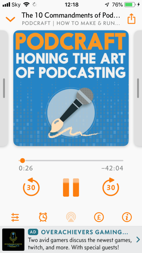 A podcast advert inside the Overcast app