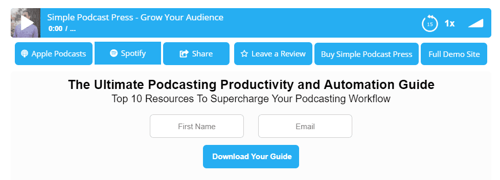 Simple Podcast Press podcast player