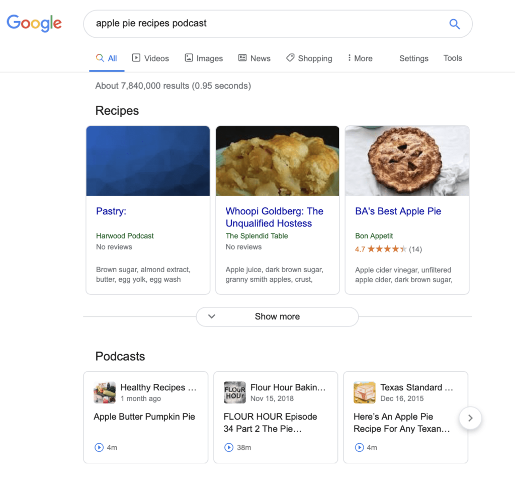 "Screenshot of a Google search for ""apple pie recipes podcast."""