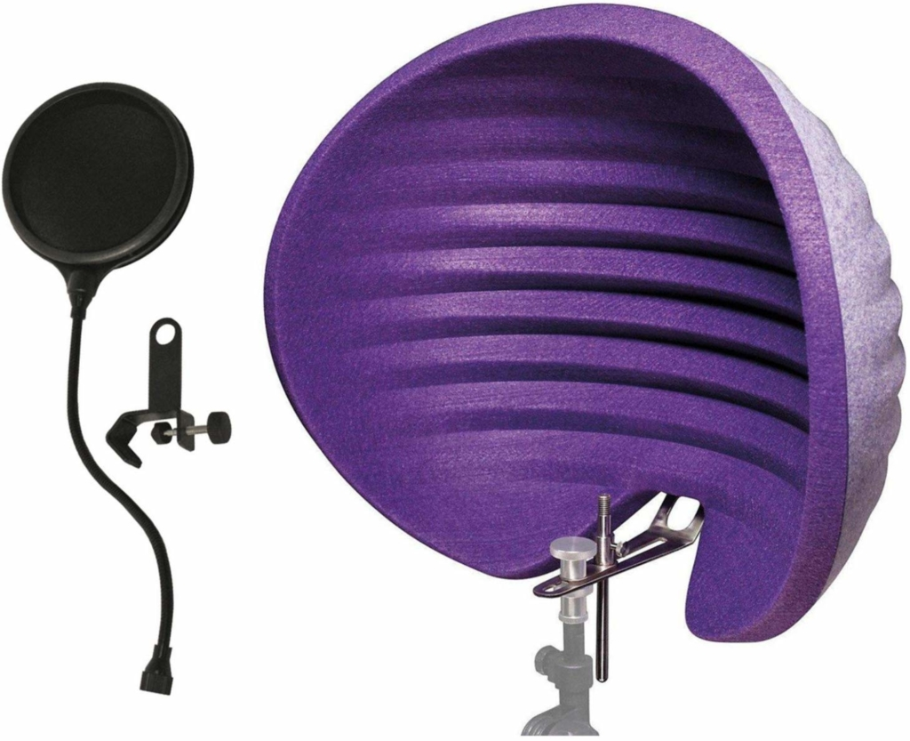 A purple felt hemisphere that wraps around a mic stand.