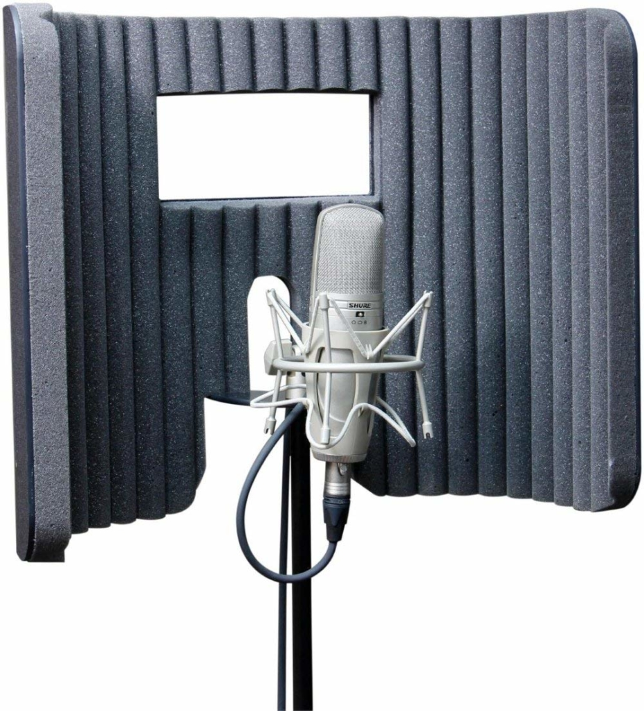 A gray and black plastic shell with a foam lining what wraps around a mic stand. It has a small window at center.
