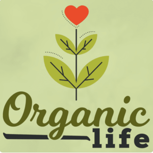 On a green field, a growing plant with a red heart at its apex, and the text Organic Life