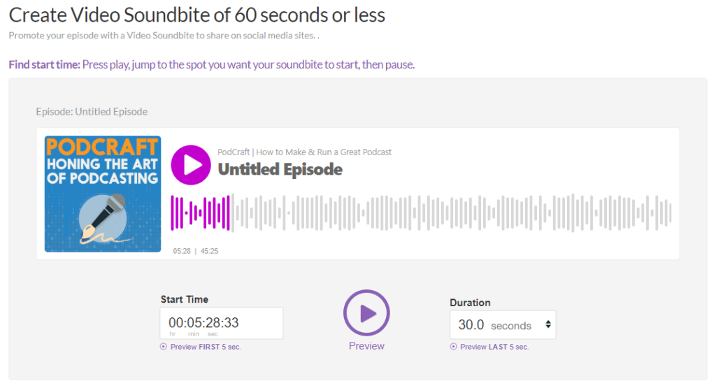 Buzzsprout podcast hosting's video soundbite tool
