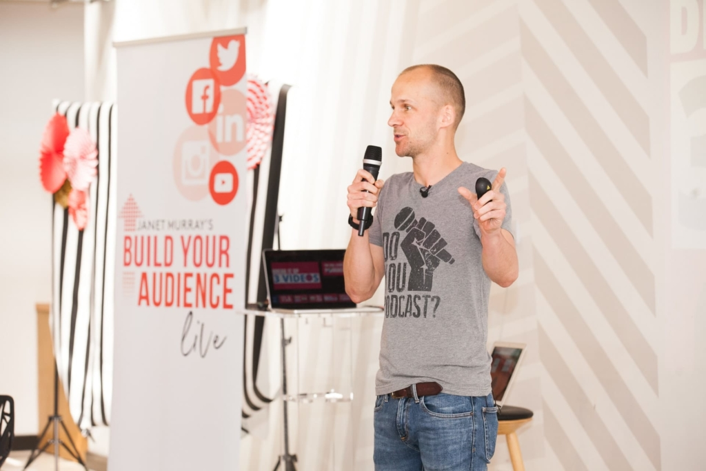 Colin Gray speaking at Build Your Audience Live
