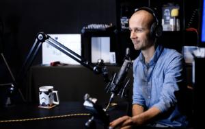 UK Podcast Consultant, Colin Gray, in the recording studio