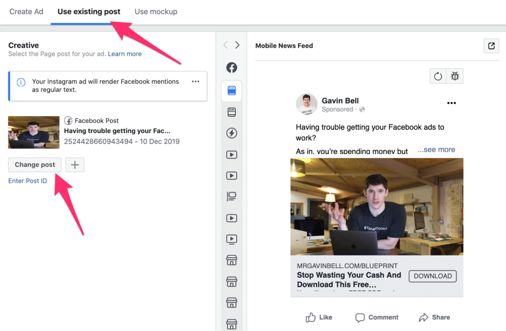 Facebook ads: Use existing post