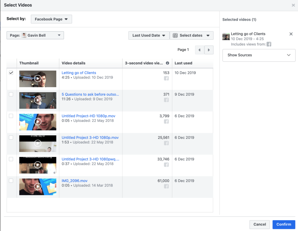 Facebook ads: Select Videos