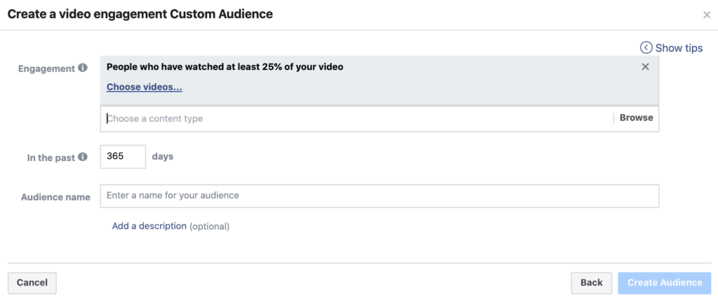Facebook Ads: Video engagement custom audience
