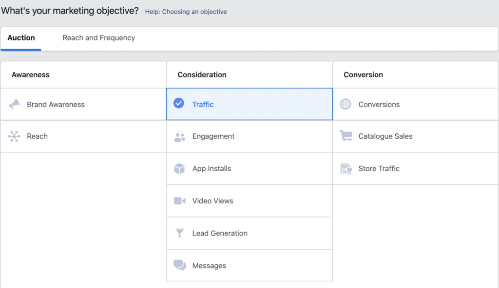 Facebook ads: What's your marketing objective?