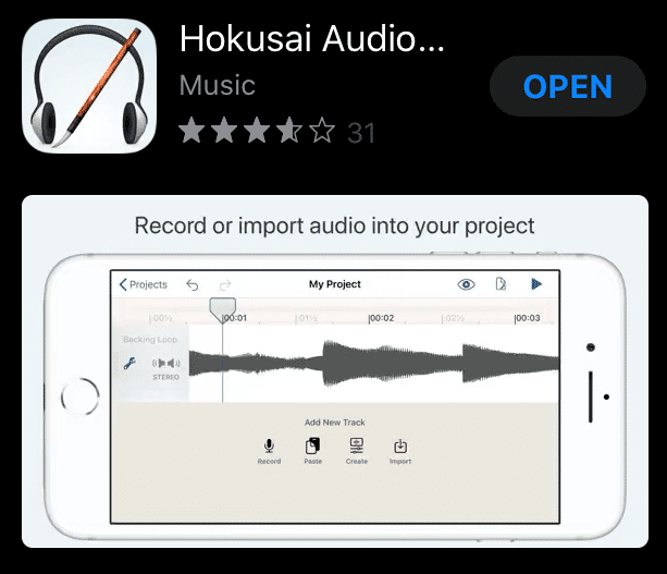 Hokusai audio recording app for iPhone