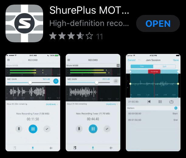 ShurePlus MOTIV: Best recording Apps for iOS