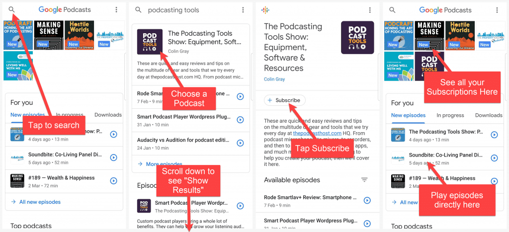 how to subscribe to a podcast in google podcasts