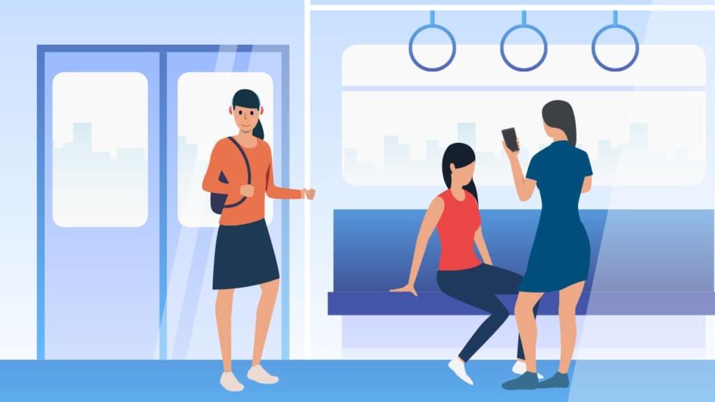 Podcast listener on train