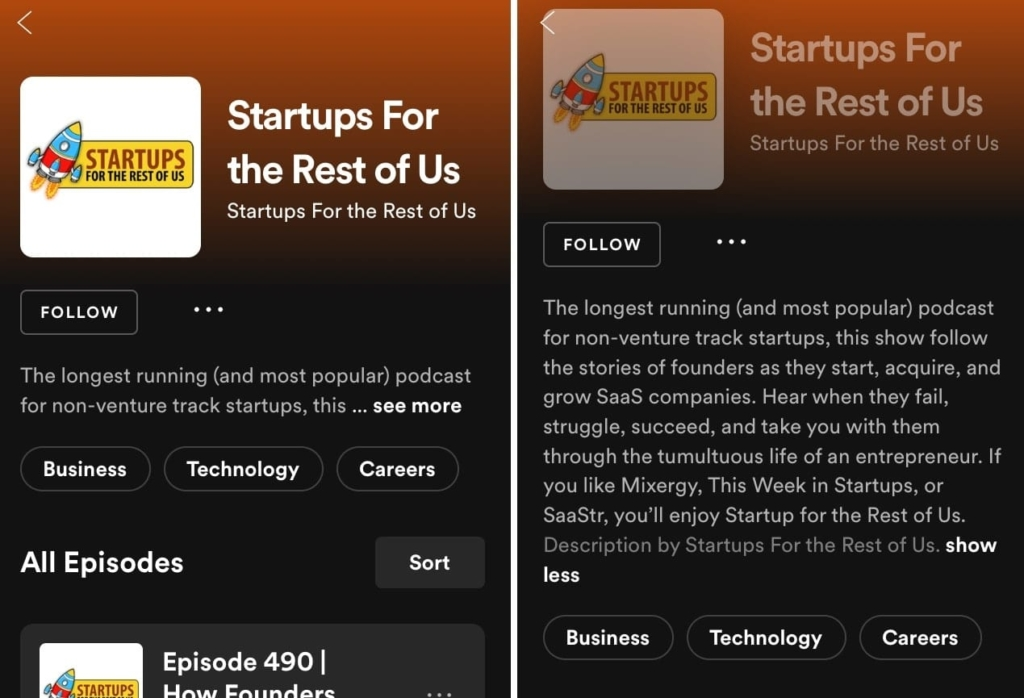 Spotify podcast description