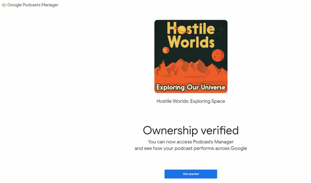 ownership of podcast verified - google podcasts