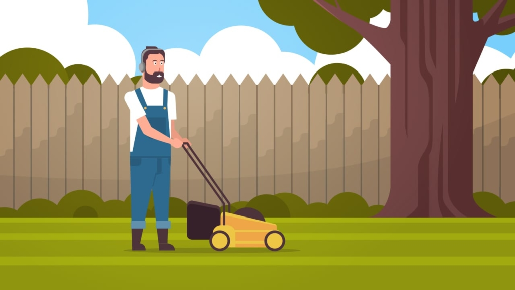 listening to a podcast mowing the lawn - creating shareable content