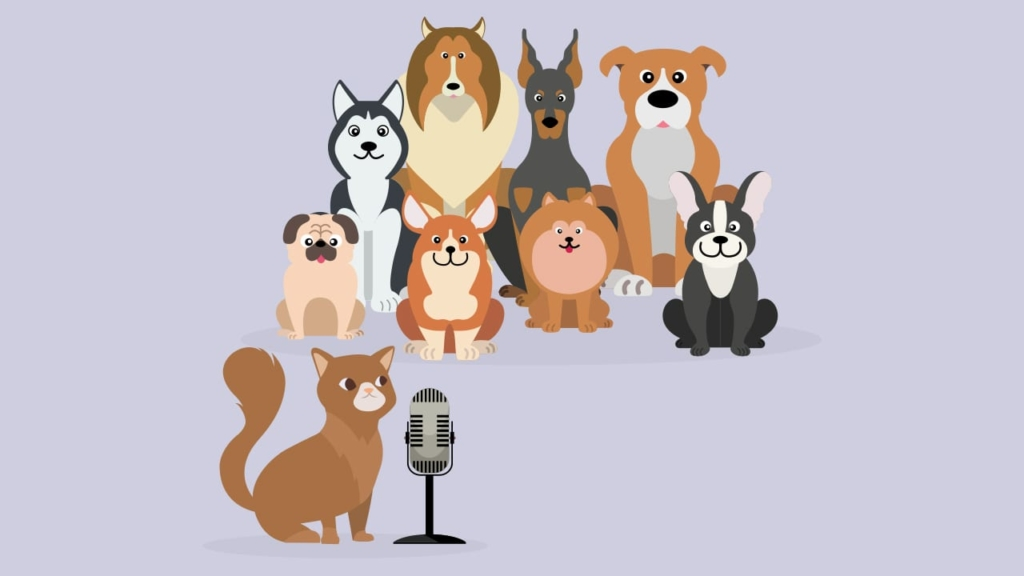 cat asking dogs for podcast reviews