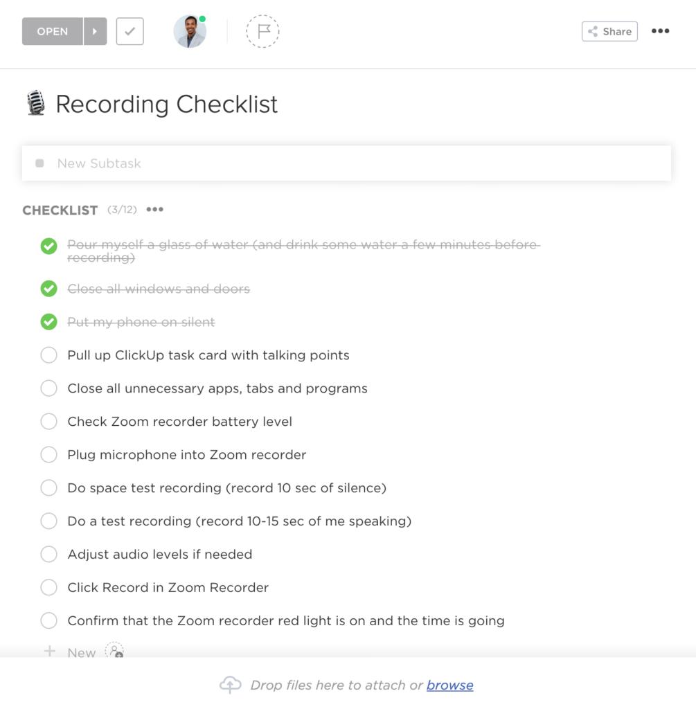 Recording Checklist