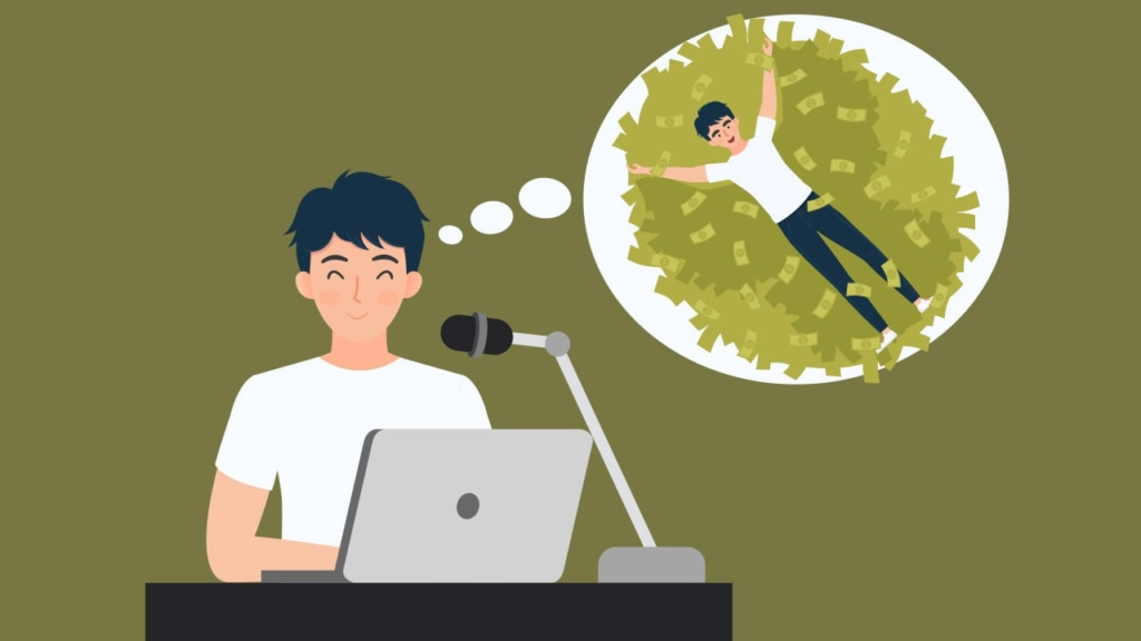 A podcaster dreaming of swimming in money. How to sell podcast episodes