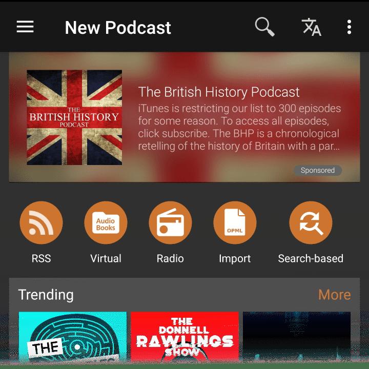 Podcast Addict ads example