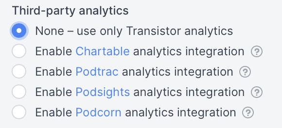 Transistor's third party analytics integrations