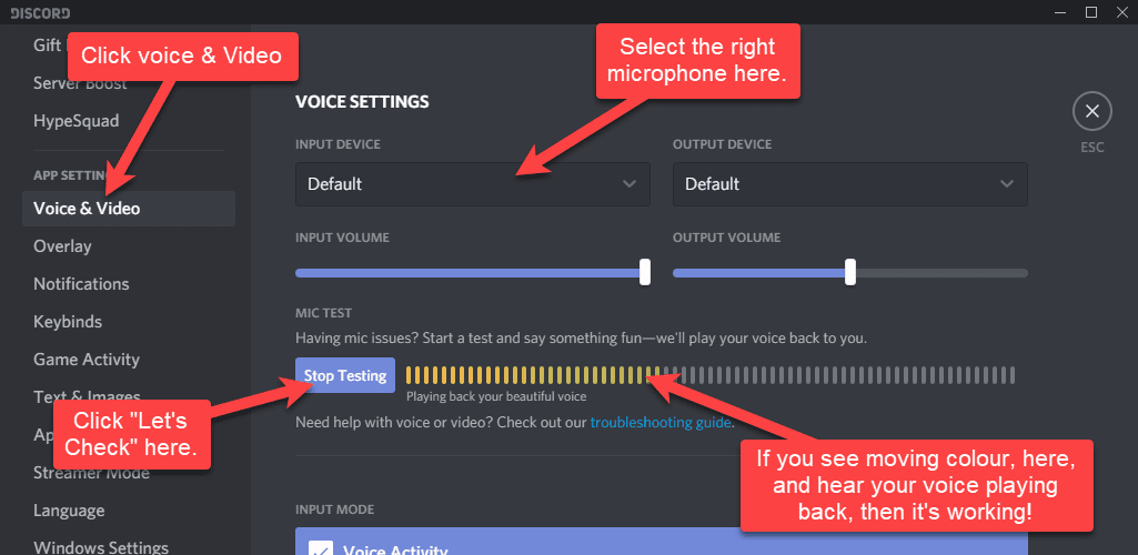 The Discord mic test and audio settings screen