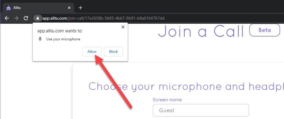 microphone permissions popup in the browser