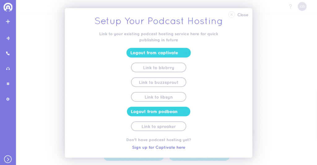 Alitu publishes directly to Captivate, Blubrry, Buzzsprout, Libsyn, Podbean, and Spreaker