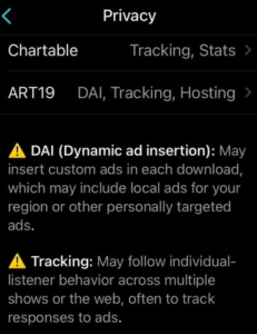 Certain Chartable features prompting privacy warning in Overcast.