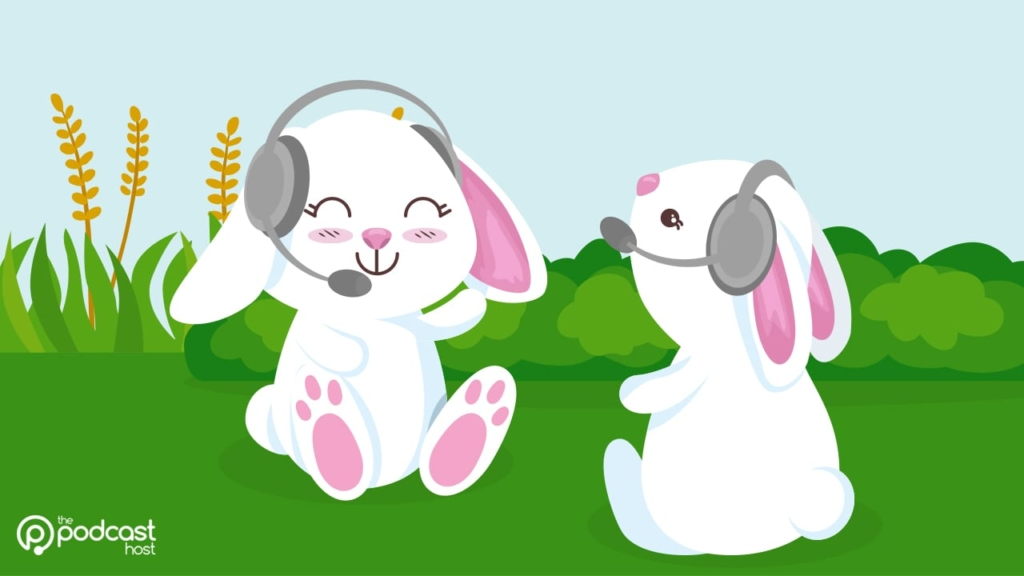 rabbits podcasting. get up close on your mic to reduce podcast background noise