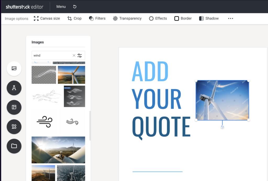Shutterstock image editor interface
