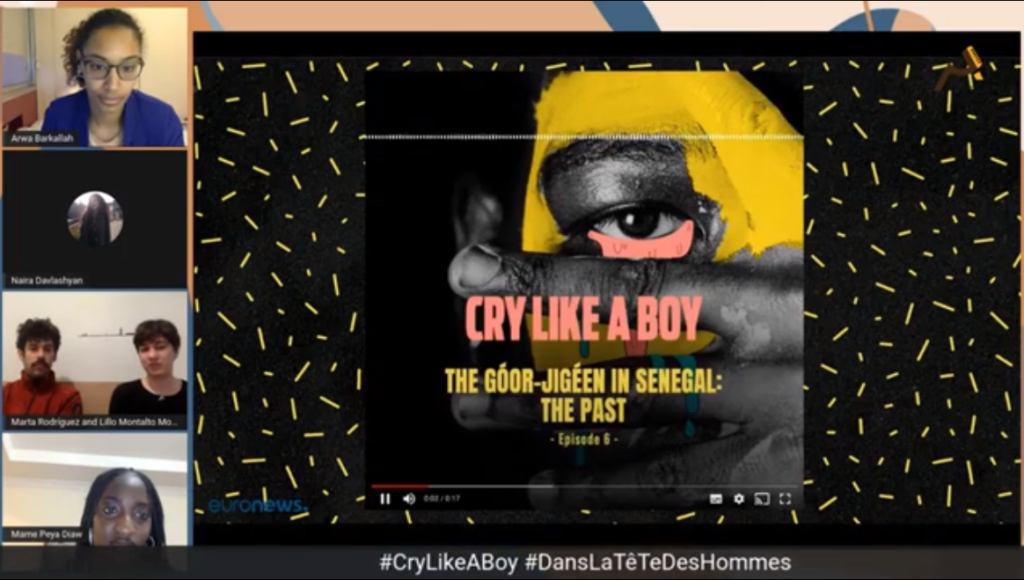 Screenshot from an African PodFest panel discussion about the podcast, Cry Like A Boy