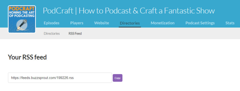 Finding RSS feed on Buzzsprout for podcast feed validator